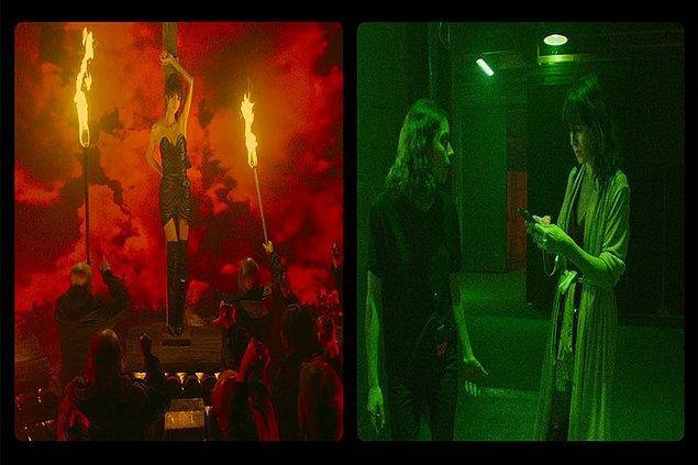 Lux Æterna'da iki aktris, Béatrice Dalle ve Charlotte Gainsbourg, bir film setinde cadılar hakkında hikâyeler anlatıyor, ama Lux Æterna sadece bundan ibaret değil.