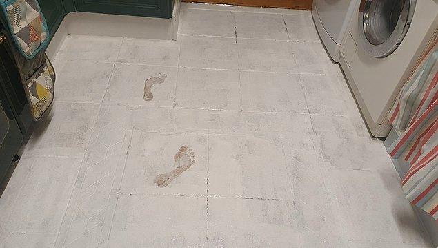 """6. """"Odanın zeminini boyadıktan sonra boya kovasını diğer tarafta ve kapağı açık bir şekilde unuttuğumu fark ettim."""""""