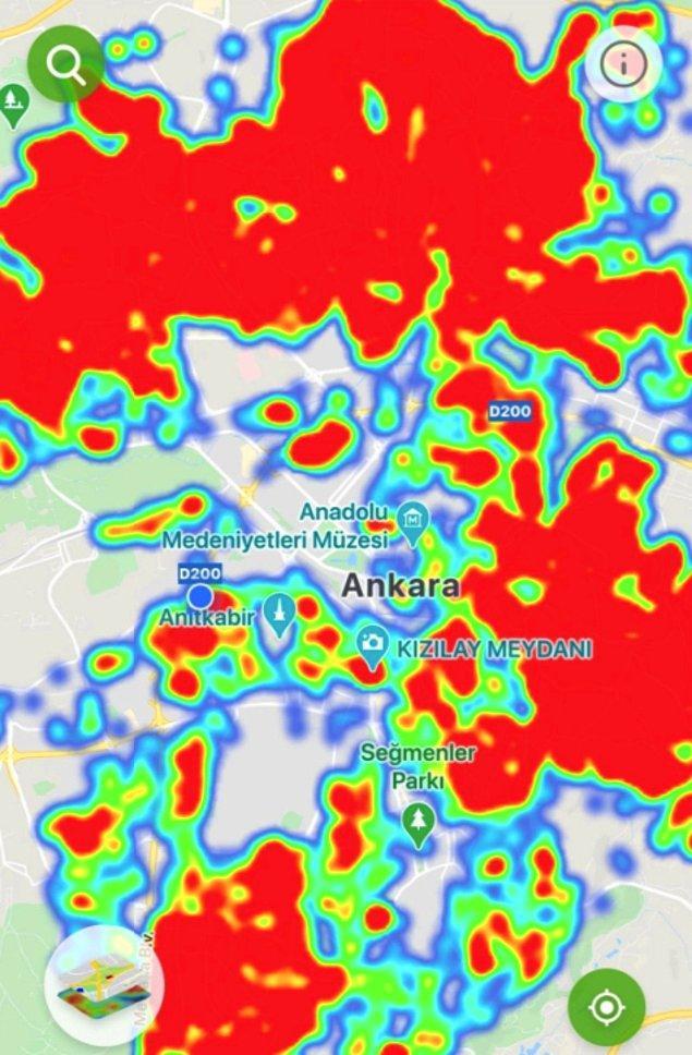 Ankara'nın Koronavirüs haritası gittikçe daha da korkutucu olmaya başladı. Güvenli bölgeler azalıyor, kırmızıya boyalı riskli alanlar çoğalıyor.