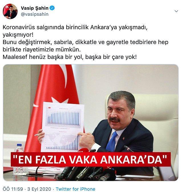 Ankara Valisi Şahin, dünkü paylaşımında tedbirlere uyma konusuna vurgu yapmıştı.