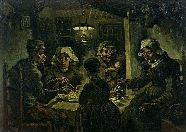 """Hollandalı expresyonist ressam Vincent Van Gogh 1885 yılında tamamladığı ünlü """"Patates Yiyenler"""" tablosunda; içinde aşk, nefret ya da entrika değil sadece ekmek ve yaşam kavgası olan basit ama bir o kadar hayatın içinden bir hikâyeyi resmeder."""
