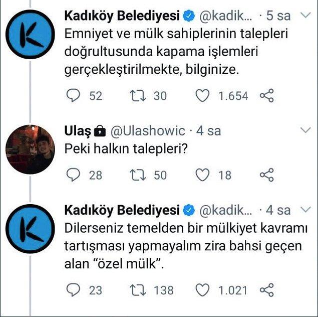 Ancak Kadıköy Belediyesi'nden de şok etkili bir cevap geldi.