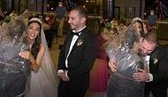Düğünde Kafasına Poşet Geçirip Gelin ile Damada Sarılan Kadın