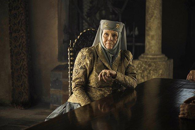 Rigg son olarak 'Game of Thrones'ta rol almış ve Olena Tyrell karakterini canlandırmıştı.