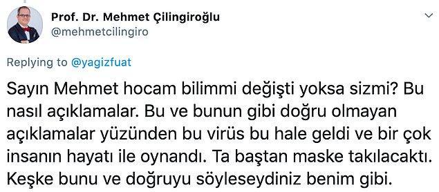 'Mehmet hocam bilim mi değişti yoksa siz mi?'