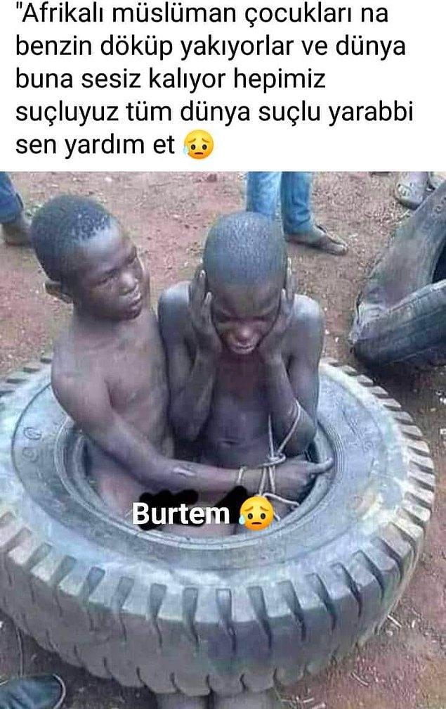"""5. """"Fotoğrafların Afrika'da Müslüman oldukları için yakılan çocukları gösterdiği iddiası"""""""