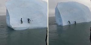 Üzerine Tırmandıkları Buz Dağı Takla Atınca Korku Dolu Anlar Yaşayan İnsanlar