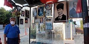 Evinin Yanındaki Otobüs Durağını Türk Bayrağı ve Atatürk Posterleriyle Süsledi: 'Emekliyim, Burada Oyalanıyorum'