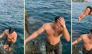 Yaptığı Atlayış ile Aşırı Cool Bir Şekilde Denizden Çıkan Adamın Karizmasının Önüne Geçen Kadın
