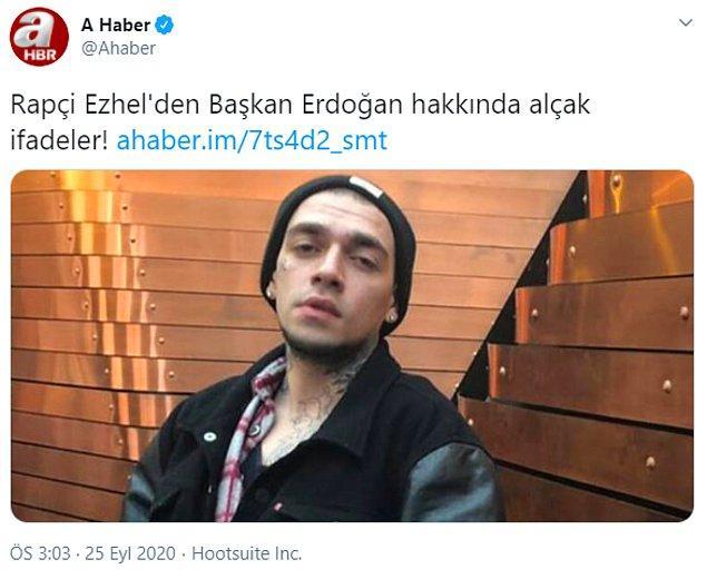 """Hatta A Haber, Ezhel için """"Uyuşturucu müptelası Rapçi Ezhel'den Başkan Erdoğan hakkında küfürlü paylaşım!"""" olarak haber yaptı."""