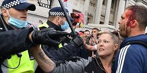 İngiltere'de Korona Önlemlerine Karşı Çıkan Grubun Protestosuna Polis Müdahalesi