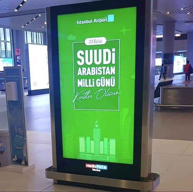 Havalimanında tepki çeken billboard 👇