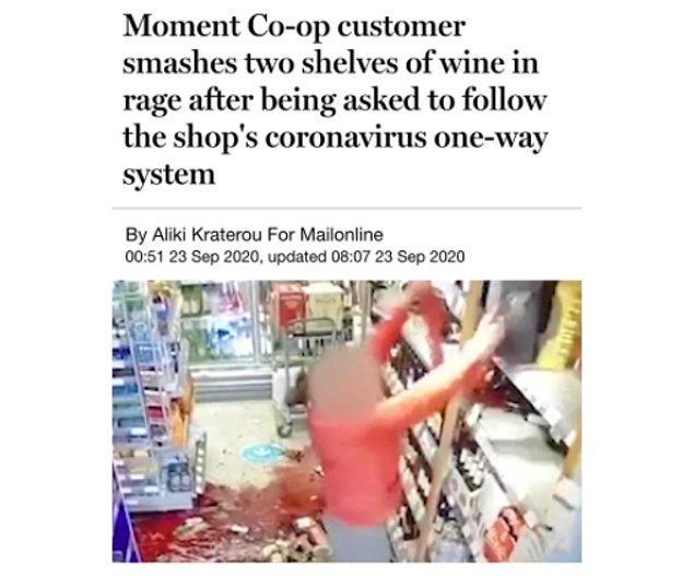 2. Markette maske takmak zorunlu olduğu için maske takmayan müşteri uyarılınca sinirlenip şarap rafını komple aşağı dökmüş...