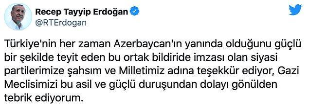 Cumhurbaşkanı Erdoğan, teşekkür mesajı yayımladı