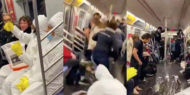 """13. """"Instagram komedyenleri koruyucu giysiler giyip maske takıp ellerindeki kovayla metrodaki insanları korkutup şaka yapmaya çalıştılar..."""""""