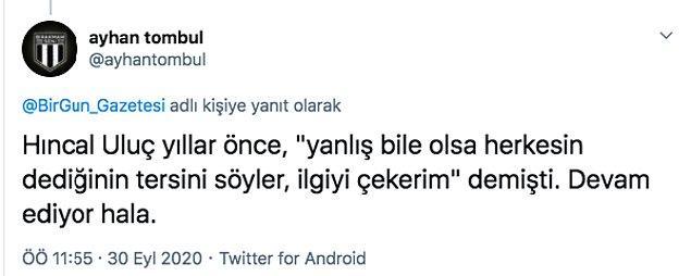 Bu yazıdan sonra sosyal medyada Hıncal Uluç'un milli spor anlayışı ile ilgili tepkiler gecikmedi.