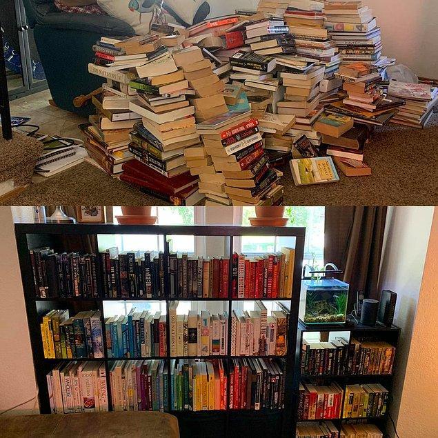 """25. """"Bu kitap yığını artık bir kitaplığa sahip."""""""