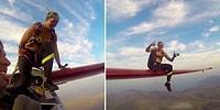 Yüzlerce Metre Yükseklikte Uçağın Kanadına Geçerek Atlayış Yapan Kadının Adrenalin Dolu Anları
