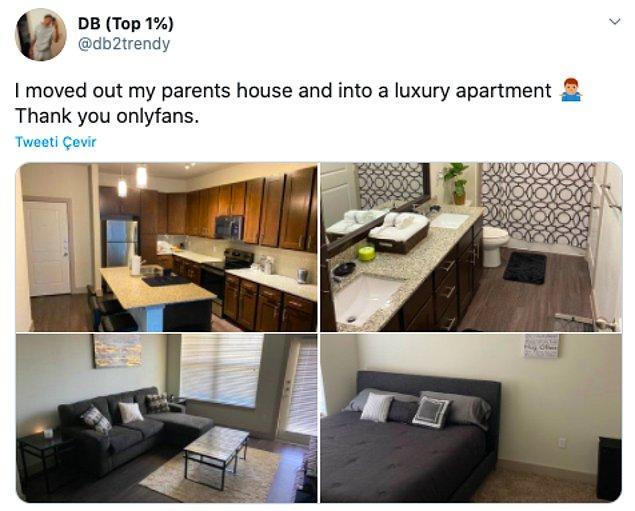 """3. """"Ailemin evinden ayrılıp lüks bir apartmana taşındım. Teşekkürler onlyfans."""""""