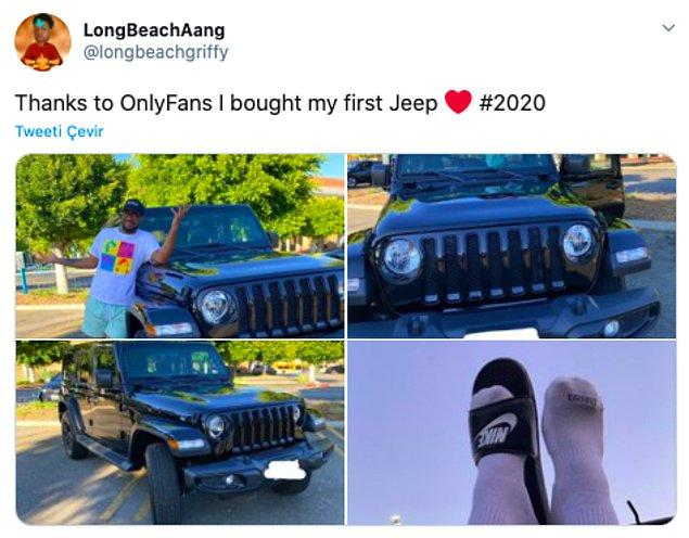 "9. ""Only Fans sayesinde ilk Jeep'imi aldım."""