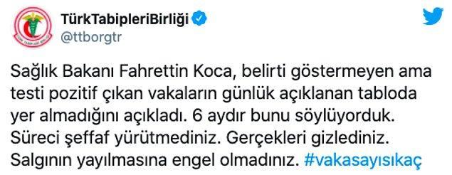 """Türk Tabipler Birliği: """"Gerçekleri gizlediniz"""""""