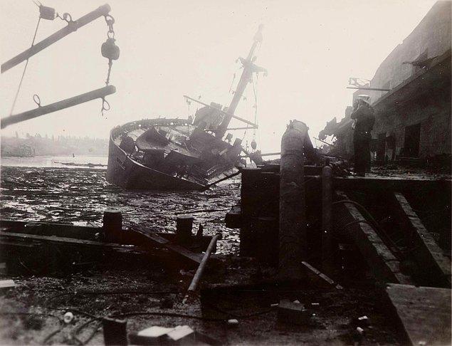 4. Tarihin en büyük nükleer olmayan patlaması Teksas City faciasından bir görüntü.