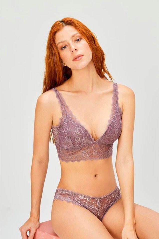 2. Lila renk bu takım çok zarif. Göğüsleriniz çok büyük değilse bu modele şans verebilirsiniz.