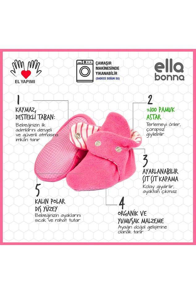7. Bebeği için en güzelini isteyen anneler için ilk adım ayakkabısı olarak evde gönül rahatlığıyla kullanabileceğiniz kaydırmaz tabanlı, organik ve yumuşak bir panduf. Çok fazla renk seçeneği var.