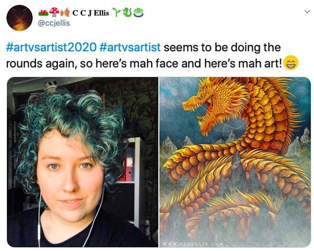 """5. """"#SanatvsSanatçı2020 #sanatvssanatçı yine ziyaret ediyor gibi, bu yüzden işte benim yüzüm ve benim sanatım!"""""""