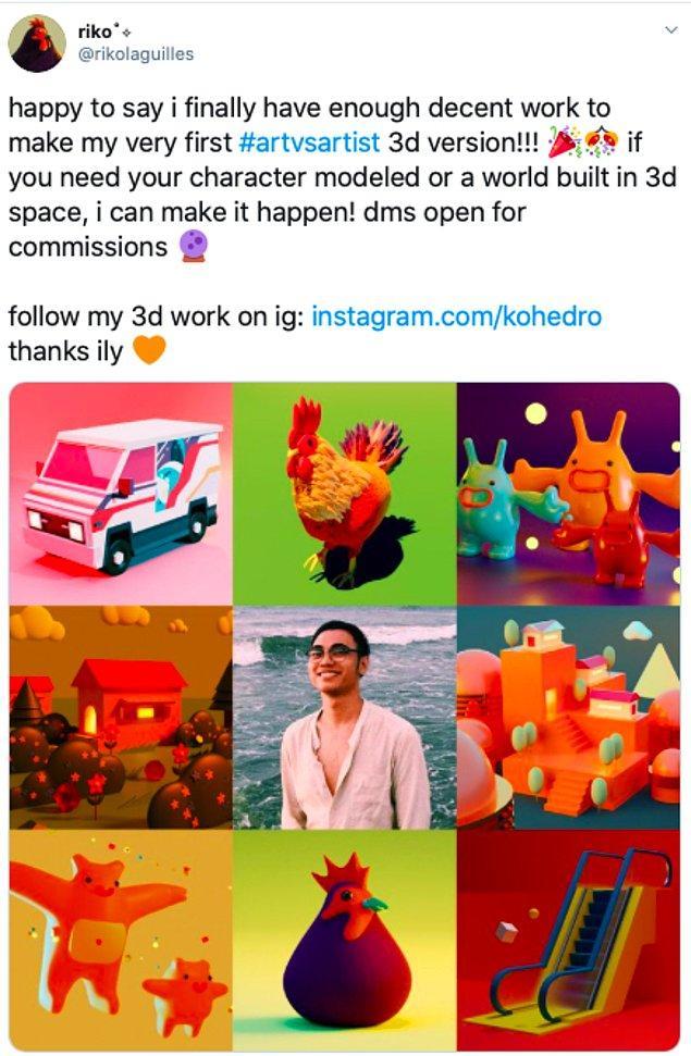 """7. """"Mutlulukla söylüyorum sonunda ilk #sanatvssanatçı 3D versiyonu için yeterli işim var!! Eğer karakterinizin modellenmesine ya da 3D dünya inşa etmeye ihtiyacınız varsa DM kutum açık. 3D işlerimi Instagram'de takip edin: instagram.com/kohedro Teşekkürler siziseviyorum. """""""