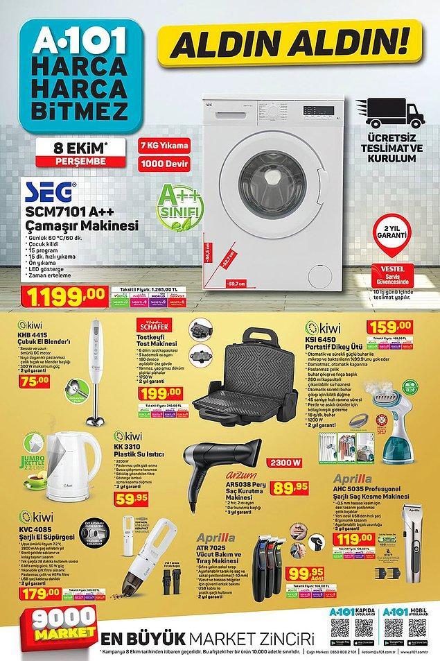 SEG marka çamaşır makinesi ücretsiz teslimat ve kurulum seçeceği ile satışta olacak.