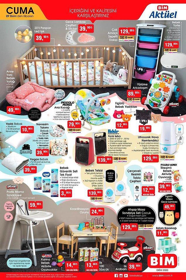 Bebek çocuk ürünleri 9 Ekim Cuma gününden itibaren BİM'de olacak.