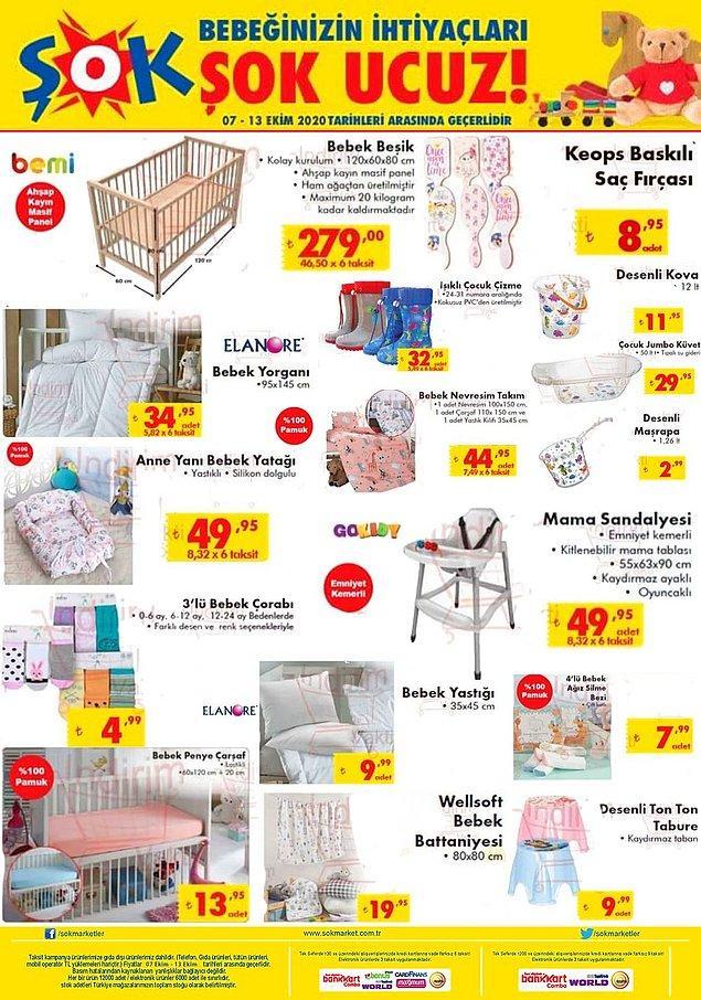 7-13 Ekim tarihleri arasında ŞOK'da bebek-çocuk odası ürünleri satışta olacak.