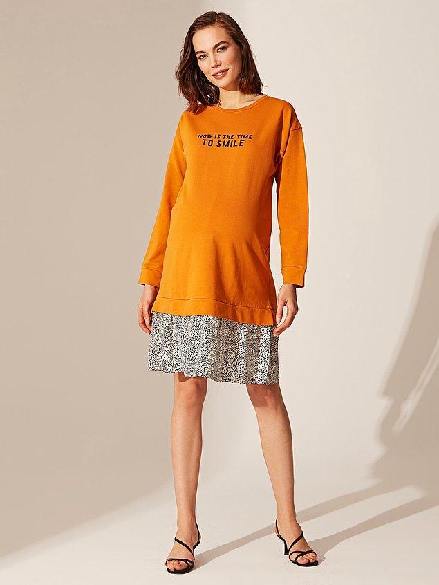 13. Hamileler için de uzun kollu tam sonbahara yaraşır güzel bir elbise buldum. Üstelik indirimde, sadece 49 TL!