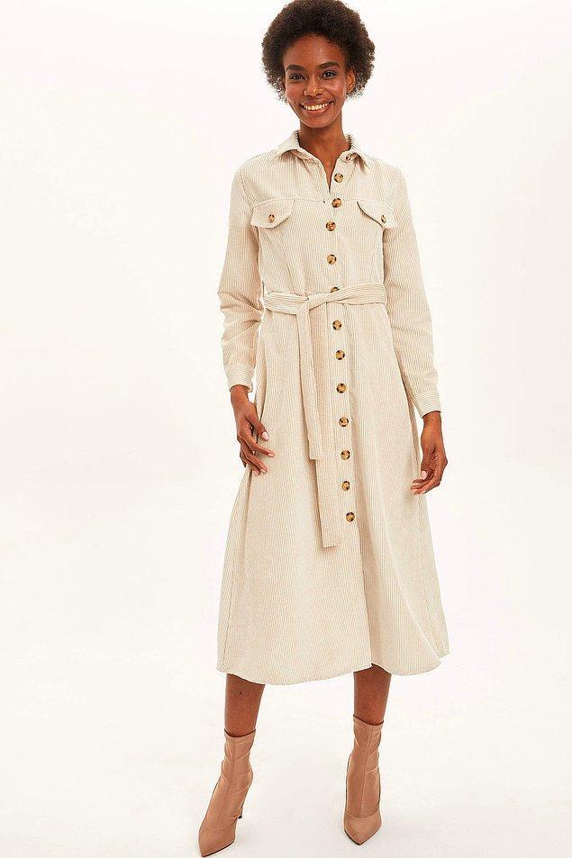 20. Farklı renkleri de bulunan tam bir sonbahar elbisesi. Fiyatı da şu anda indirimde!