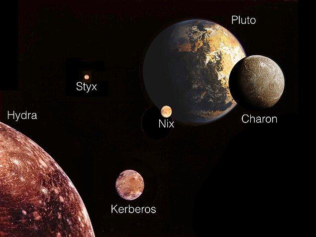 Plüton'un 5 uydusu vardır.