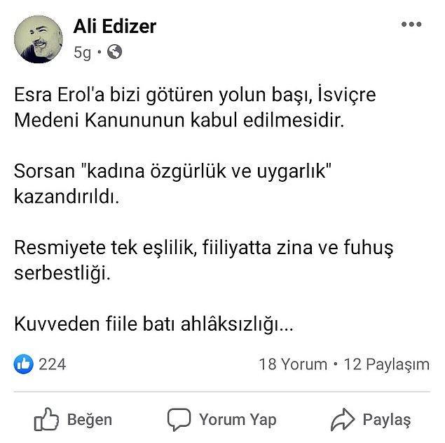 Kamuoyunda tartışma yaratan Esra Erol'un programlarıyla ilgili paylaşımda bulunan Edizer, Facebook'ta şu ifadeleri kullandı 👇