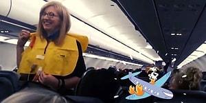 Daha Güzel Anlatılamazdı! Uçak Düşerken Ne Yapmanız Gerektiğini Eğlenceli Bir Şekilde Tek Tek Anlatan Hostes