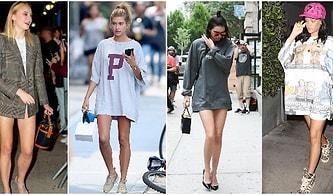 Ünlüler Yine Değişik Bir Akım Başlattı: Sanki Giyinmeyi Unutmuş Gibi Gösteren Pantolonsuz Kombin Trendi