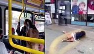 Maske Takmadığı İçin Uyardığı Kadın Yüzüne Tükürünce Kadını İterek Otobüsten Attı
