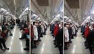 Yenikapı - Hacıosman Metrosu'nda Saat 19:23'te İstiklal Marşı Çalındı, Herkes Ayağa Kalktı