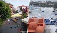Seferihisar'dan Tsunami Görüntüleri: Ege Açıklarında Meydana Gelen Depremin Ardından Deniz Sokaklara Taştı!