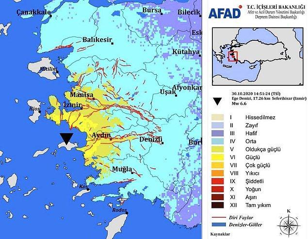 17:00 AFAD İzmir depreminin ardından tahmini şiddet haritasını yayınladı
