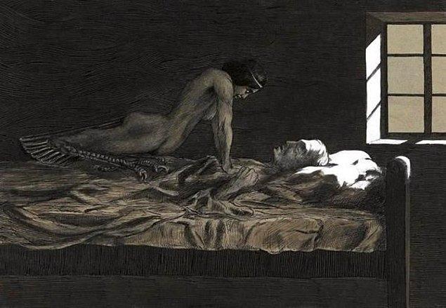 """3. """"Eşime sarılırken uyuyakaldım. Uyandığımda, yüzü yanlış yöndeydi ve bana bağıran bir şeytan gibiydi..."""