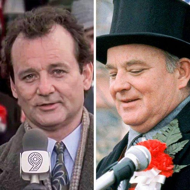 1. 'Bugün Aslında Dündü'  filmindeki festivallerin arkasındaki adamı Bill Murray'in erkek kardeşi Brian Doyle-Murray oynamıştır.