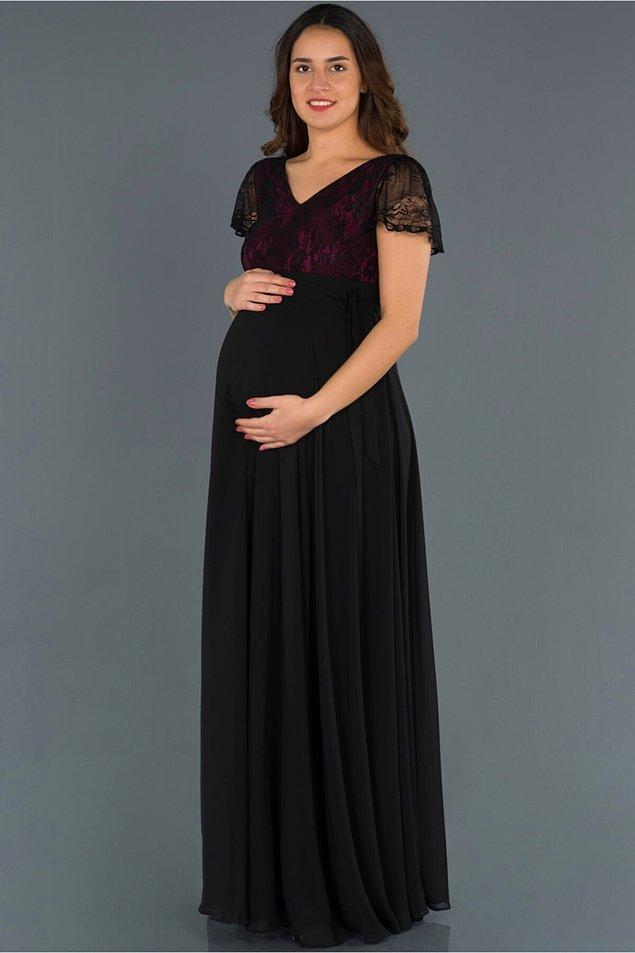 14. Mürdüm dantel detaylı uzun gece elbisesi de daha sade bir elbise tercih etmek isteyenler için bir seçenek...
