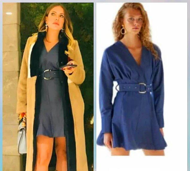 9. Yıldız'ın üzerindeki mavi denim elbise Urban Muse marka, lacivert suni kürklü kaban ise Rue.