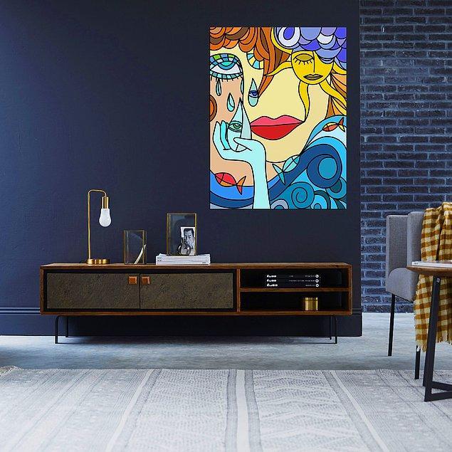 13. Ev dekorasyonunda tabloları seviyorsanız bu tablo odanıza da duvarınıza da çok yakışacak.