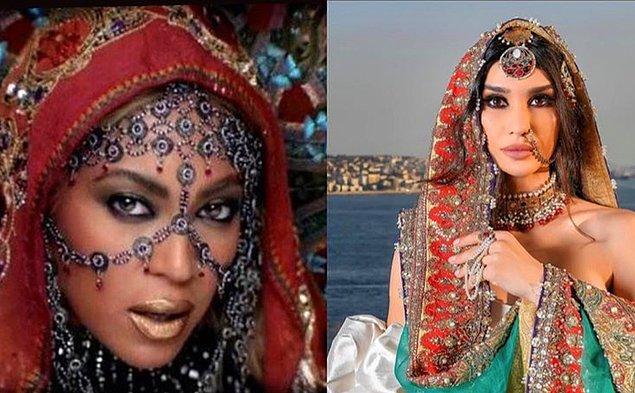 12. Burcu Kıratlı'nın bir çekim için tercih ettiği Hint konseptinin daha çok Beyoncé esintili olduğu konuşuldu.