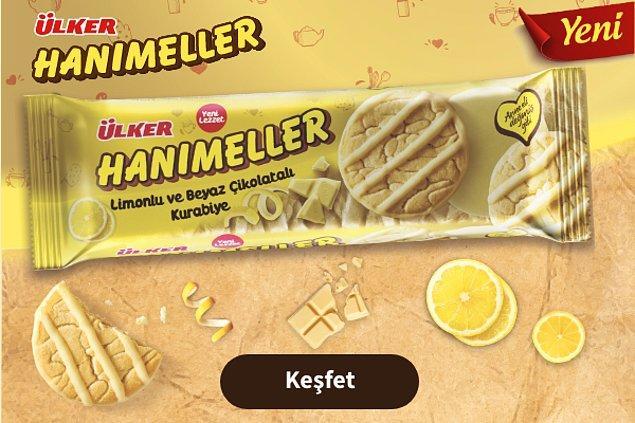 Tüm bu tarifleri yapmaya üşeniyorsanız Hanımeller'in yeni çıkan Limonlu ve Beyaz Çikolatalı kurabiyesi tam size göre!